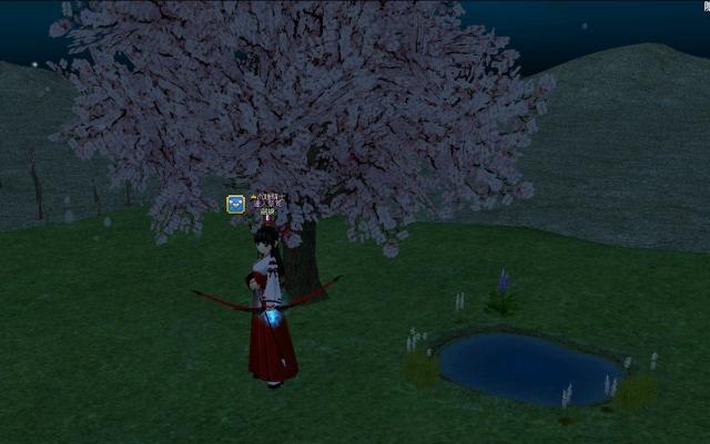 巫女 樱花树 水池